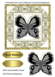 Black-gray Butterfly Topper