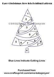 Easy Christmas Tree Iris Folding Pattern