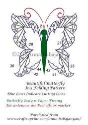 Beautiful Butterfly Iris Folding Pattern