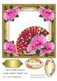 Fan & Pink Flowers Large Square Topper 1(4)
