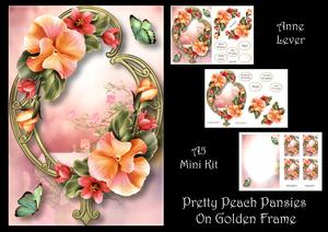 Pretty Peach Pansies on Golden Frame