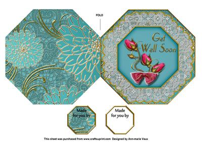 Peacock Rose Get Well Soon Octagon Lace Picture Fold Card
