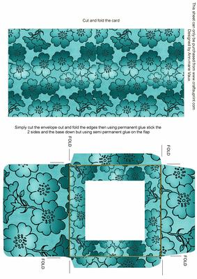 Teal Metallic Floral Print Midi Card and Envelope Sheet