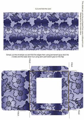 Blue Metallic Floral Print Midi Card and Envelope Sheet