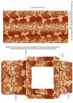 Burnt Orange Metallic Floral Midi Card and Envelope Sheet