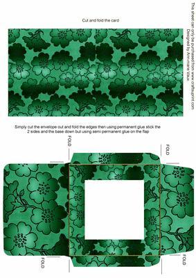 Dark Green Metallic Floral Midi Card and Envelope Sheet