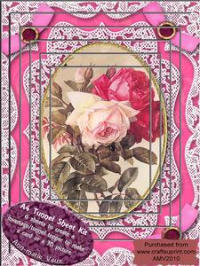 Pink Roses Card Topper A4 Tunnel Kit