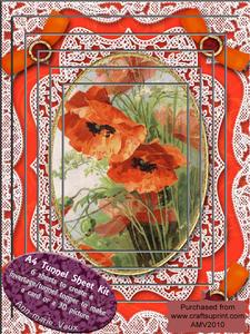 Poppies Lace Card Topper A4 Tunnel Kit