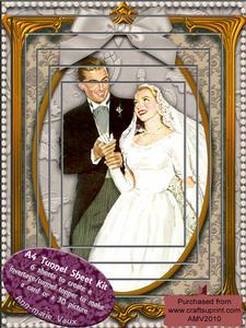 Elegant Wedding Couple Tunnel Card Topper A4 Kit