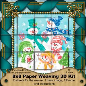 Snowman Family 3D Paper Weaving Kit