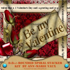 Be My Valentine Red Damask 8in Round Spiral Edge Stacker Kit