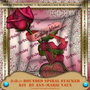 Pink Metallic Birthday Rose 8in Round Spiral Edge Kit