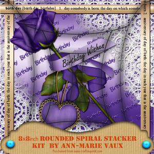 Lilac Birthday Rose 8inch Rounded Edge Spiral Stacker Kit