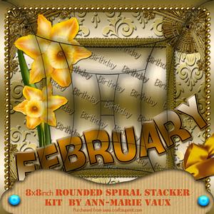 February Daffs Birthday 8in Rounded Edge Spiral Stacker Kit