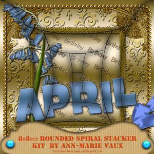April Bluebells Birthday 8in Rounded Edge Spiral Stacker Kit