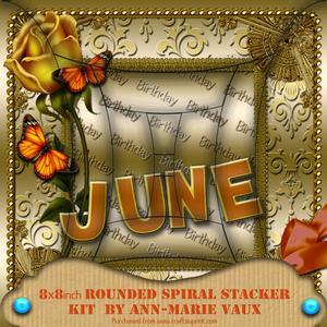June Rose Birthday 8in Rounded Edge Spiral Stacker Kit