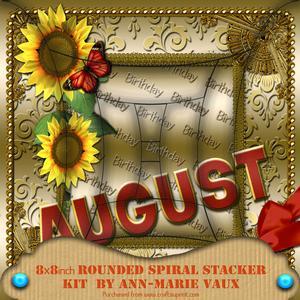 August Sunflower Birthday 8in Round Edge Spiral Stacker Kit