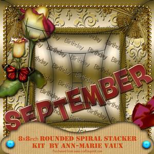 September Rose Birthday 8in Round Edge Spiral Stacker Kit