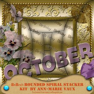October Pansy Birthday 8in Round Edge Spiral Stacker Kit