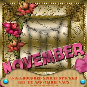 November Floral Birthday 8in Round Edge Spiral Stacker Kit