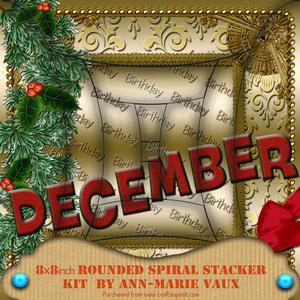 December Winter Birthday 8in Round Edge Spiral Stacker Kit