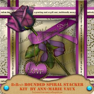 Purple Valentine Rose 8in Rounded Edge Spiral Stacker Kit