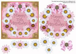 Pink Day Happy 11th Birthday Decoupage Ring Sheet