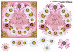 Pink Day Happy 12th Birthday Decoupage Ring Sheet