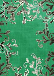 Dark Green Coloured Silver Swirls A4 Backing Paper
