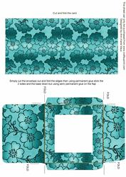 Teal Metallic Floral Print Midi Card and Envelope Sheet