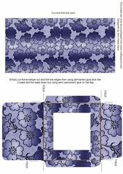 Blue Metallic Floral Print Midi Card and Envelope Sheet