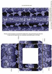 Dark Blue Metallic Floral Midi Card and Envelope Sheet