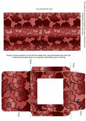 Dark Red Metallic Floral Midi Card and Envelope Sheet