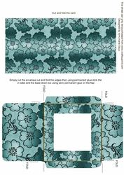Dusky Teal Metallic Floral Midi Card and Envelope Sheet