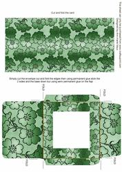 Mid Green Metallic Floral Midi Card and Envelope Sheet