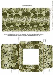 Olive Metallic Floral Midi Card and Envelope Sheet
