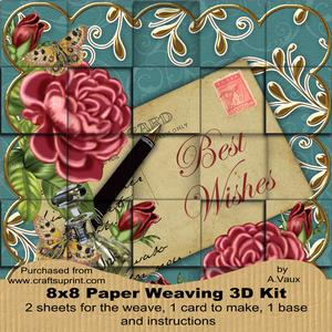 Deep Pink Roses Teal Best Wishes 8in Paper Weaving Card Kit