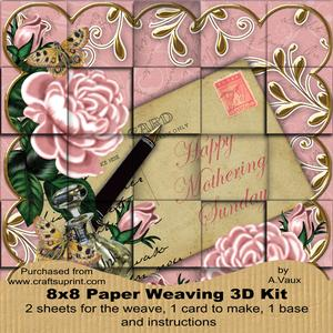 Pink Roses Mothering Sunday 8in Paper Weaving Card Kit