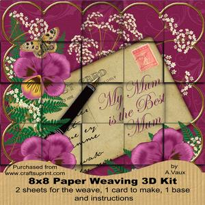 Cerise Pansy My Mum is Best 8in Paper Weaving Card Kit