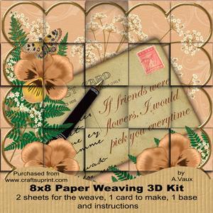 Borange Pansy If Friends Were - 8in Paper Weaving Card Kit