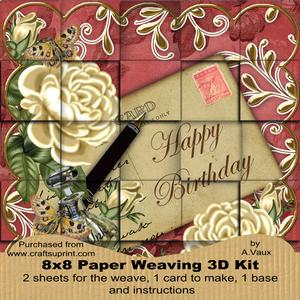 Cream Roses Red Happy Birthday 8in Paper Weaving Card Kit
