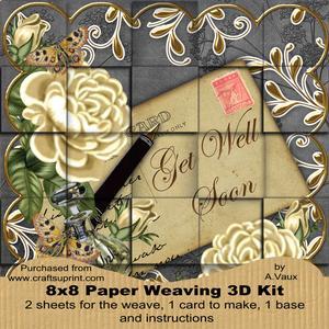 Cream Roses Black Get Well Soon 8in Paper Weaving Card Kit