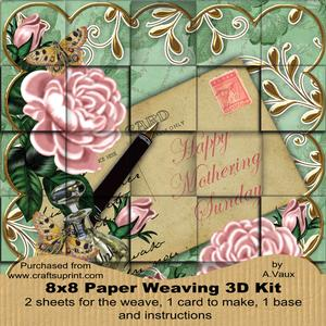 Pink Roses Green Mothering Sunday 8in Paper Weaving Card Kit