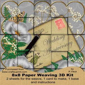 Silver Poppy Wedding Anniversary 8in Paper Weaving Card Kit