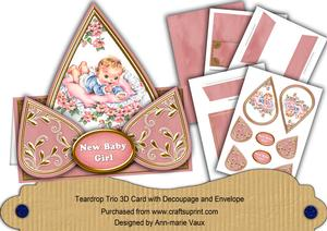 New Baby Girl Pink Teardrop Trio Kit