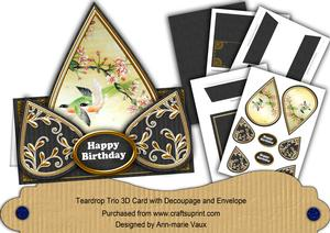 Oriental Birds2 Happy Birthday Teardrop Trio Kit