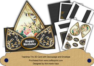 Black Oriental Birds Happy Birthday Teardrop Card Kit