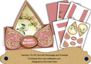 Pink Oriental Birds2 Happy Birthday Teardrop Card Kit