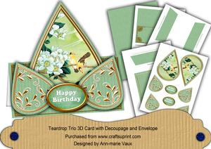 Green Oriental Birds3 Happy Birthday Teardrop Card Kit