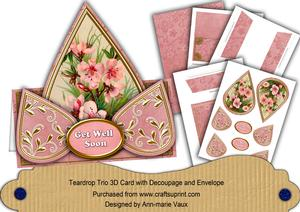 Pink Dogwood Get Well Soon Teardrop Card Kit